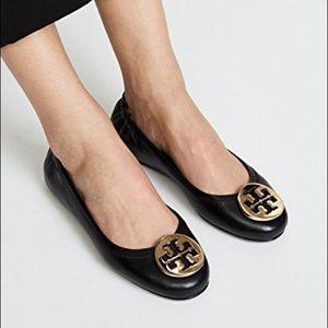 Tory Burch Minnie Travel Black Leather Ballet Flat